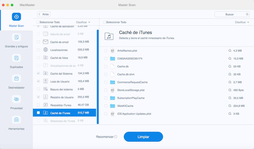 Limpiar basura de iTunes y de correo para mejorar el rendimiento de Mac