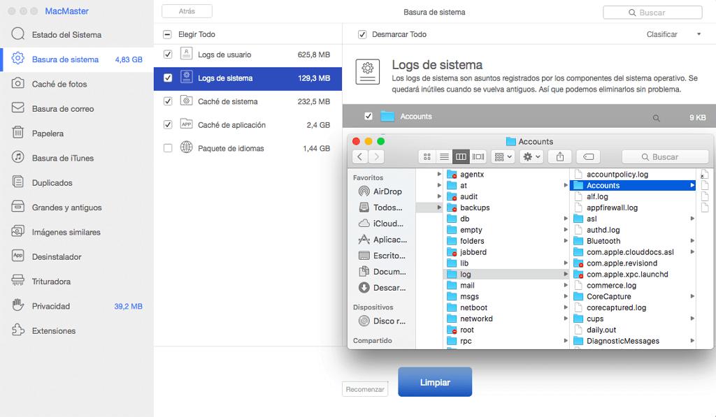 ver detalles de log de sistema Mac