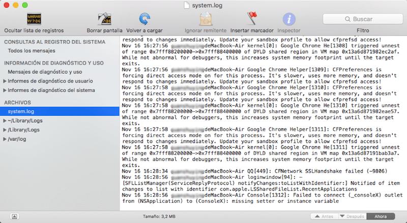 ver registro de sistema de Mac por consola