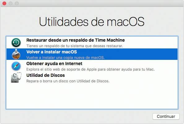 volver a instalar macOS