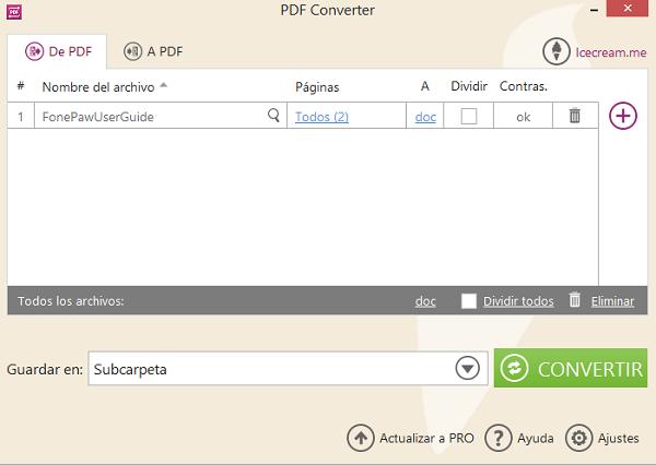 convertir un archivo de pdf a doc