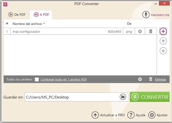 configurar convertir un archivo de png a pdf