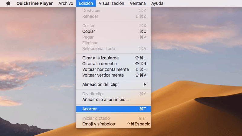 acortar vídeo QuickTime Player