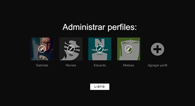 administrar perfiles de Netflix