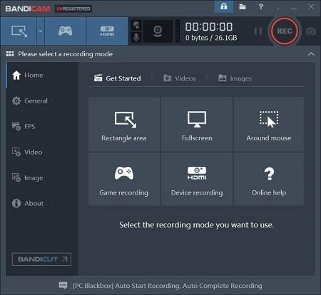 grabar pantalla con Bandicam