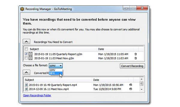 Convertir la grabación a MP4