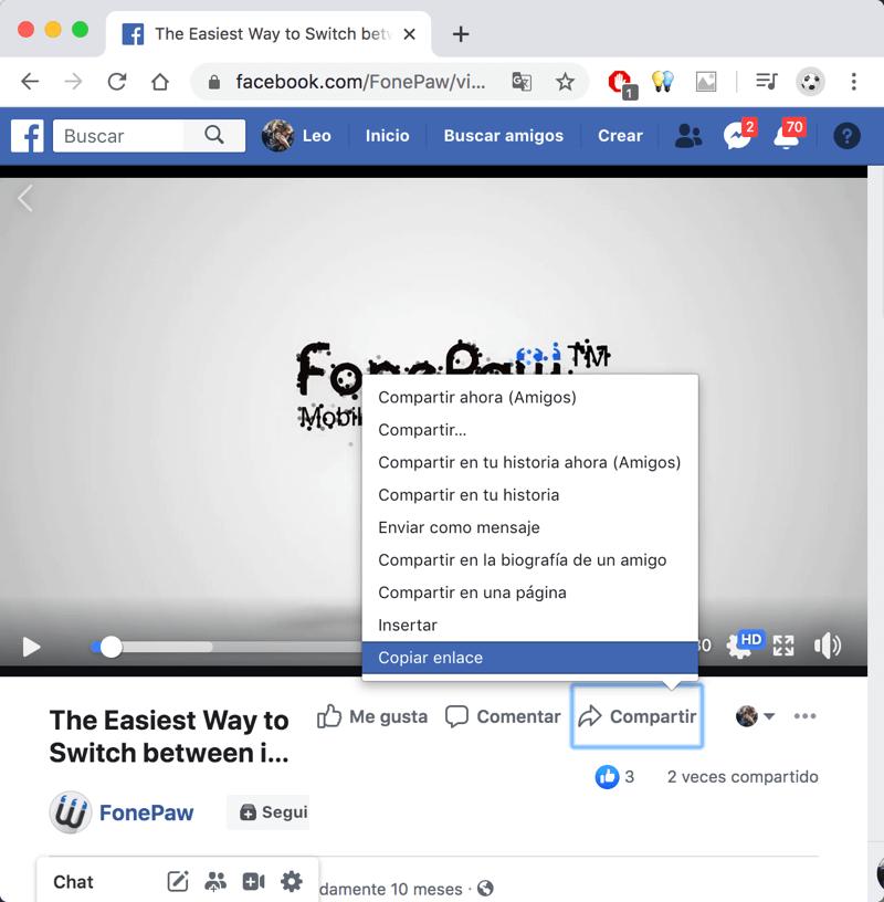 Copiar URL del video en Facebook