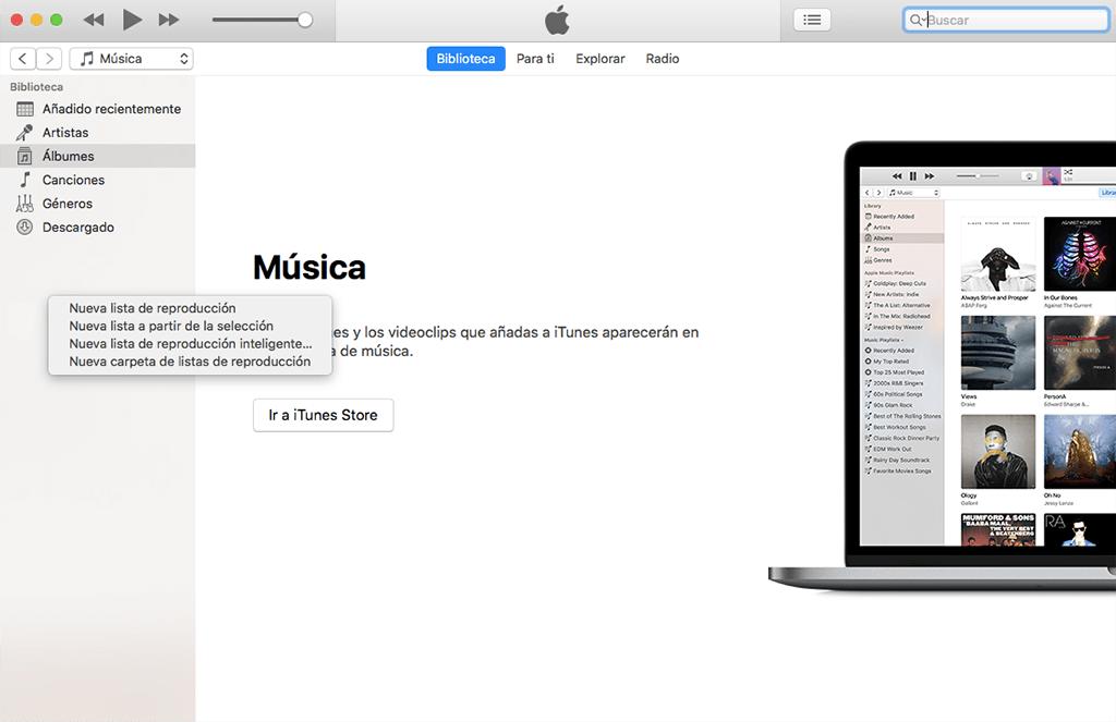crear nueva lista de reproducción en un disco iTunes