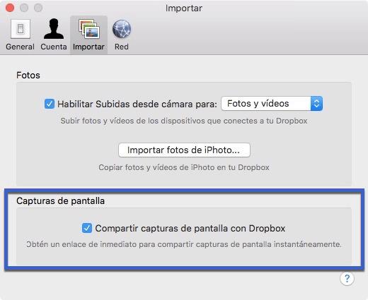 desactivar compartir capturas de pantalla con Dropbox