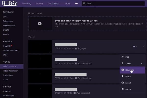descargar directos de Twitch