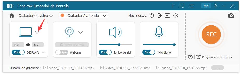 seleccionar la grabación de pantalla