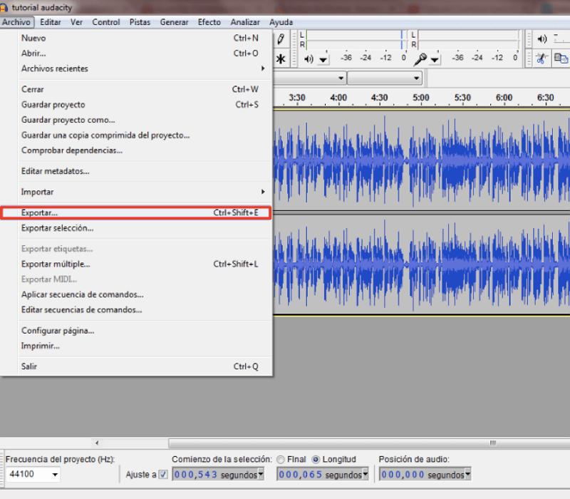exportar canciones de Audacity