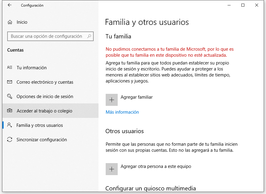 Familia y otros usuarios