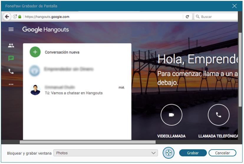 grabar conversación de Hangouts Google