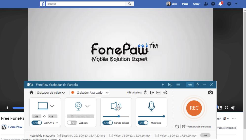grabar vídeo de Facebook con Grabador de Pantalla