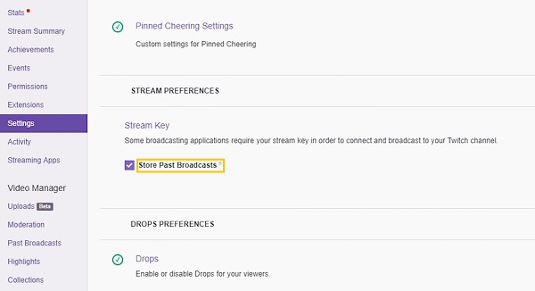 guardar transmisiones pasadas Twitch