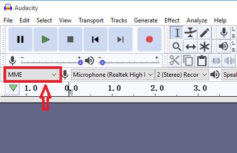 configurar el Host de audio en MME