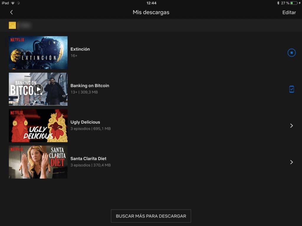 mis descargas de Netflix en iPad