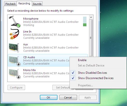 ajustar dispositivos de grabación