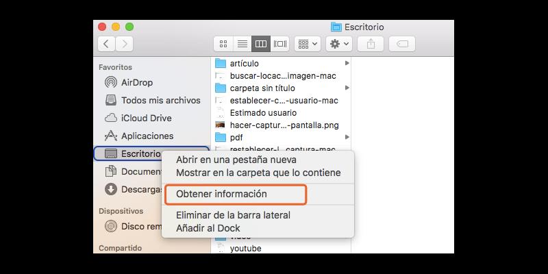 obtener información de escritorio de Mac