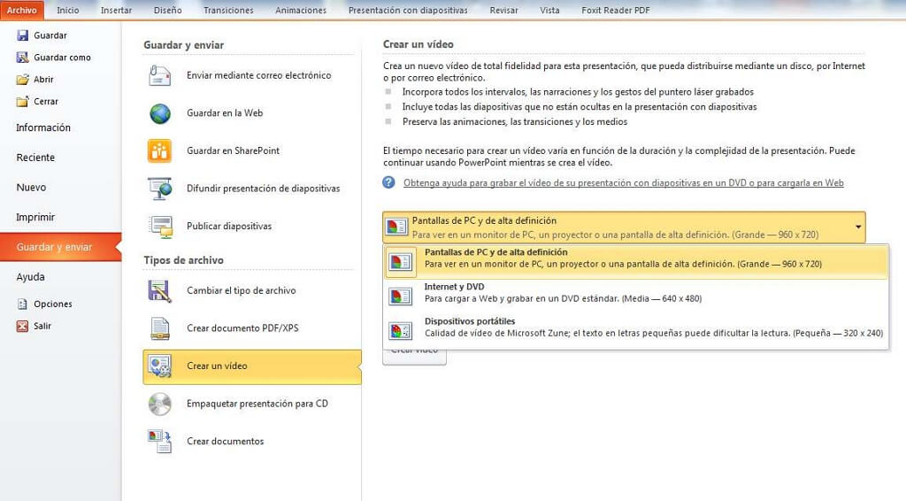 pantalla de PC de alta definición Powerpoint