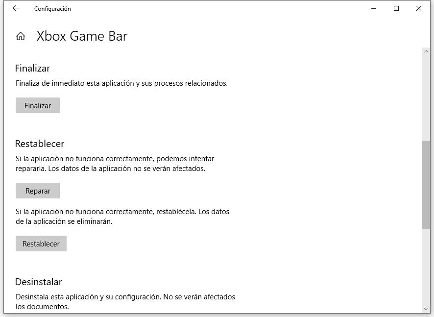 Restablecer barra de juegos