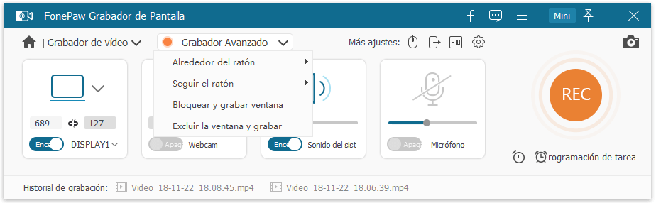 seleccionar función de grabador acanzado