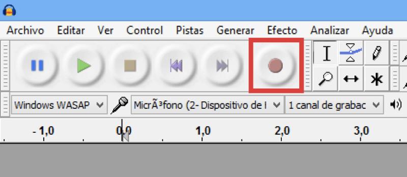 tocar botón rojo para grabar Spotify con Audacity