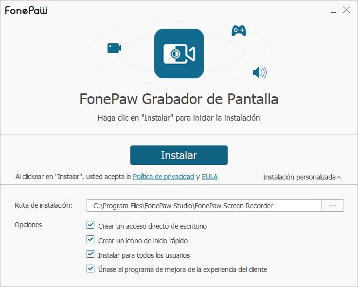 Asistente de instalación de FonePaw