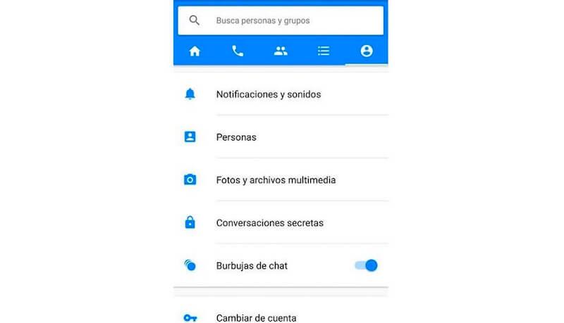 activar burbujas de chat messenger Android