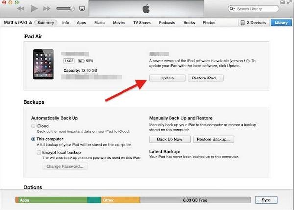 actualizar iOS por iTunes