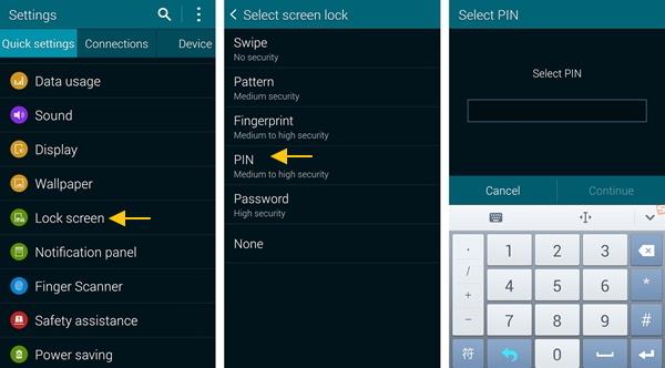 android configurar pin