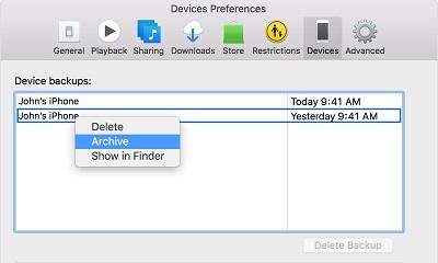archivar respaldo de iTunes