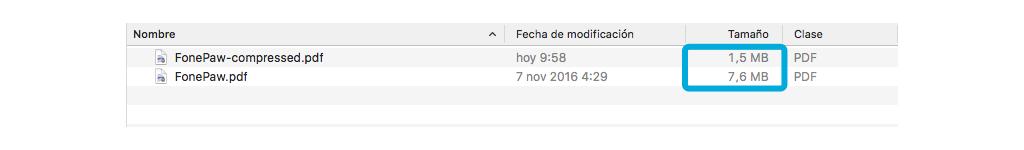 archivo PDF comprimido