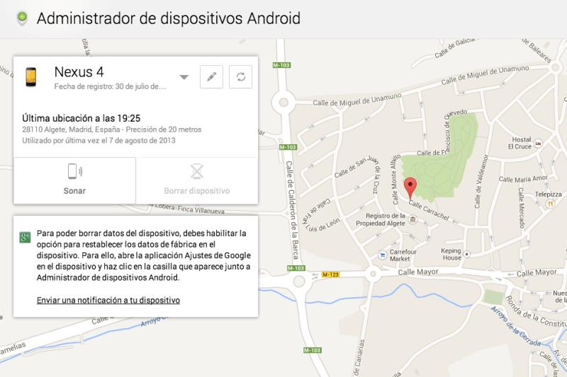 borrar Android con Administrador Dispositivos Android