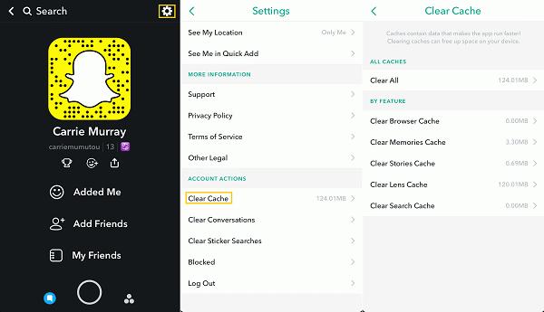 resinstalar Snapchat si no se puede iniciar sesión