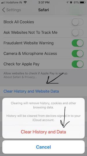 Borrar cookies y datos Safari