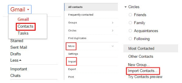 choose to import contacts