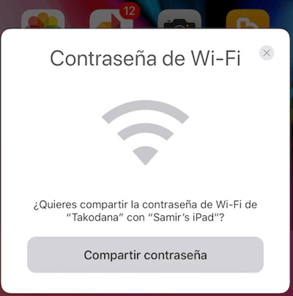 Compartir WIFI iOS 11