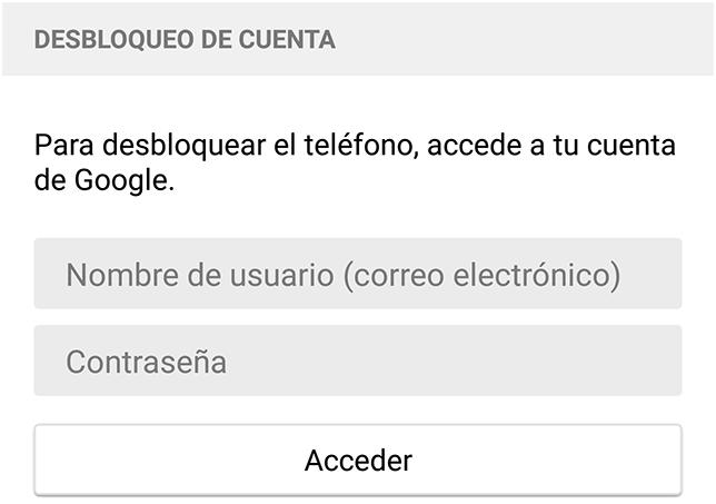 desbloqueo Android con cuenta Google
