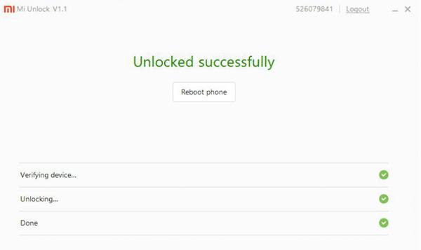 desbloqueo con éxito en Xiaomi