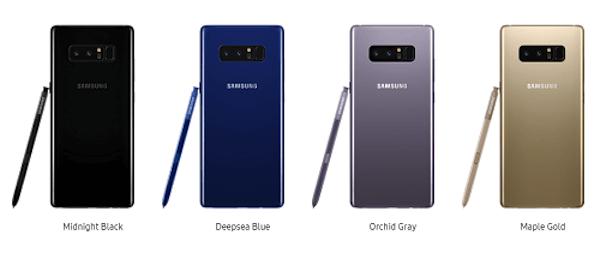 Galaxy Note 8 colores