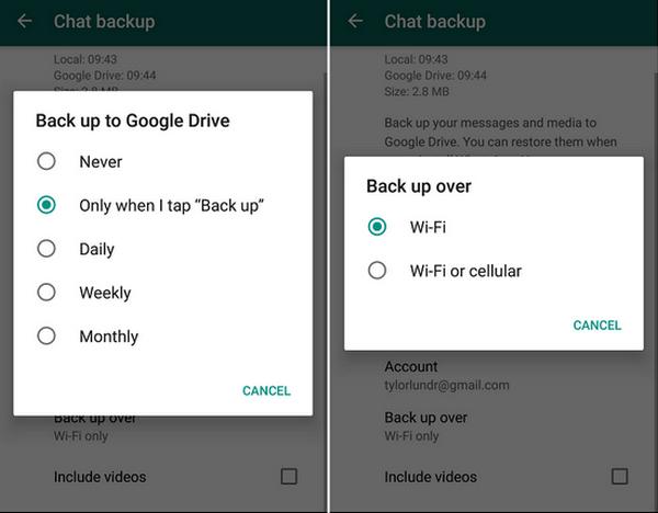 Google Drive ajustes de respaldo