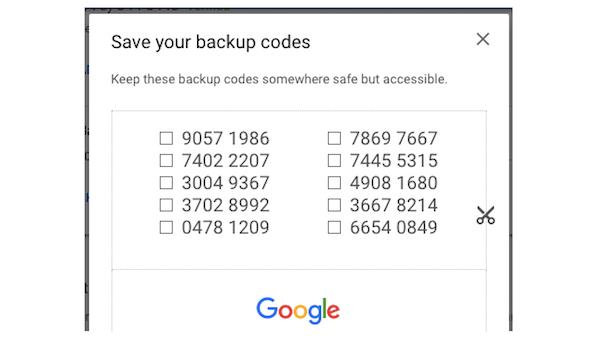 Guardar código de backup gmail