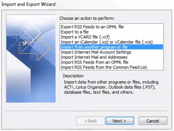 Importar y Exportar wizard
