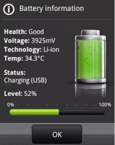 información de batería