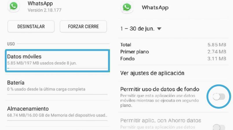 permitir uso de datos de fondo WhatsApp Android