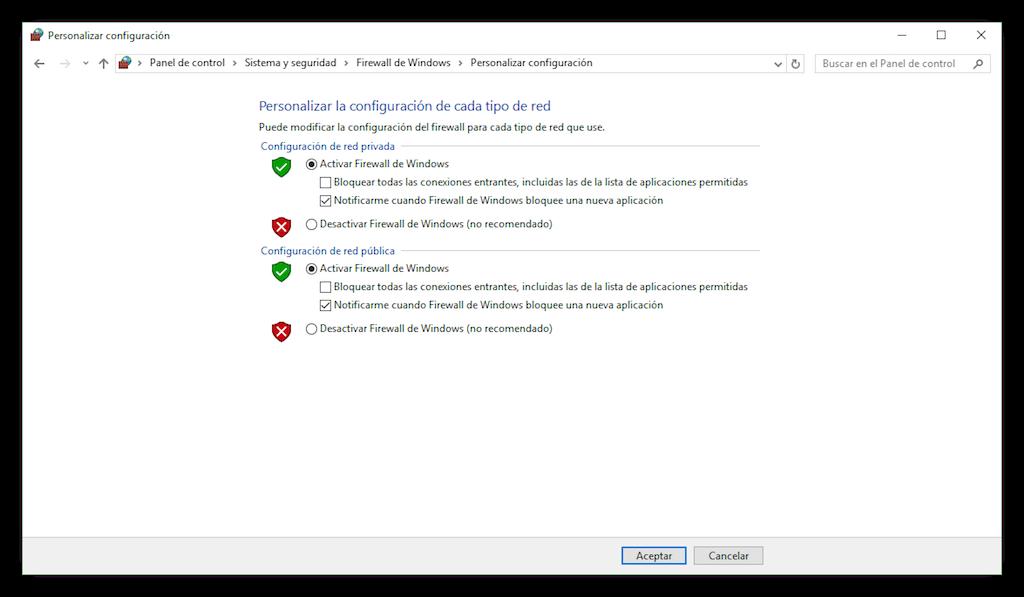 personalizar configuración de redes en Windows