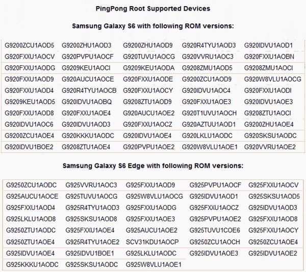 Dispositivos Sopotados por Ping Pong Root