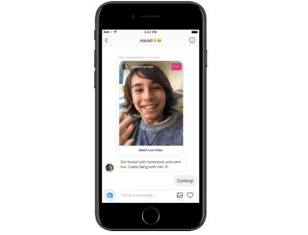 Presionar enviar live video Instagram